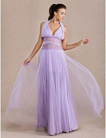 A-line Halter Floor-length Chiffon And Tulle Evening Dress