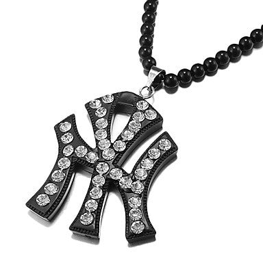 Men's Hip Hop Goodwood (Yankee) Black Acrylic Pendant Necklace (1 Pc)