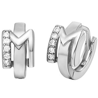"Gifr for Boyfriend High Quality Silver Plated Letter ""M"" Men's Stud Earrings(1 pr)"