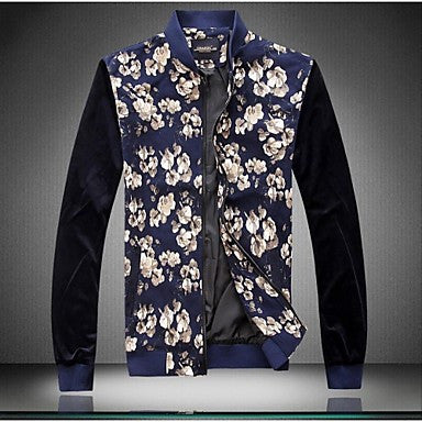 Men's Fashion Floral Thin Zipper Long Sleeved Jacket