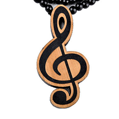 Fashion Personalized Hip Hop Note Pendant Brown Wood Pendant Necklace(1 Pc)