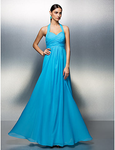 A-line Halter Floor-length Chiffon Evening Dress
