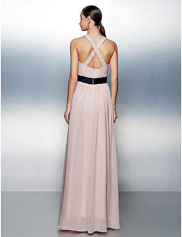 A-line/Princess Strapless Floor-length Satin Evening Dress