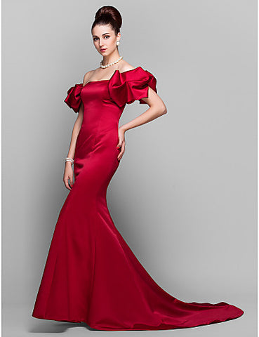 Trumpet/Mermaid Off-the-shoulder Court Train Satin Evening Dress Inspired by Lauren Santo Domingo