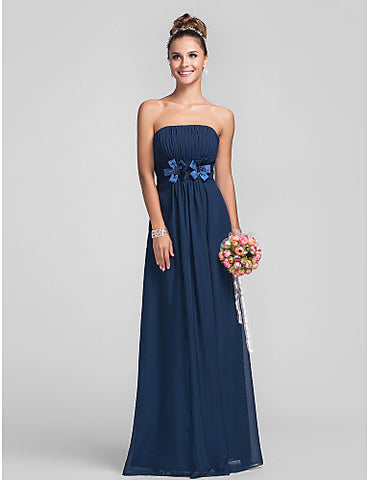 Empire Strapless Floor-length Chiffon Over Satin Bridesmaid Dress With Flower