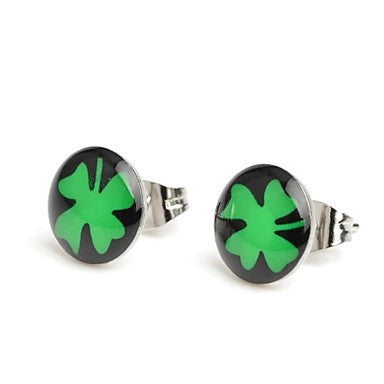 Fashion Black Ground Clover Stainless Steel Stud Earrings