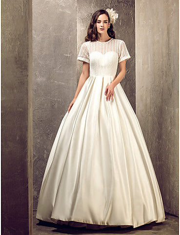 A-line Jewel Floor-length Satin And Lace Wedding Dress (631200)