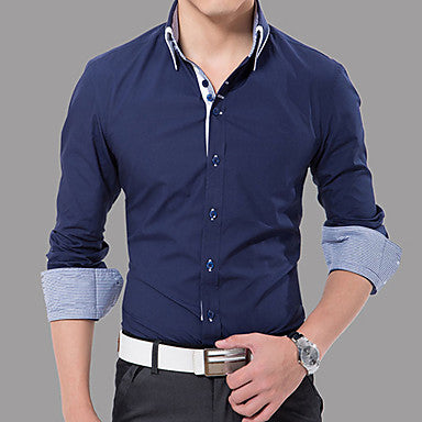 Men's Casual Stripes Flanging Slim Shirt