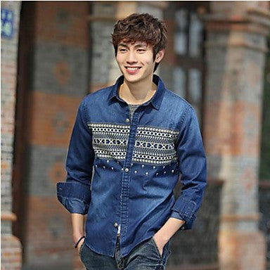 Men's Stand Collar Long Sleeve Shirt