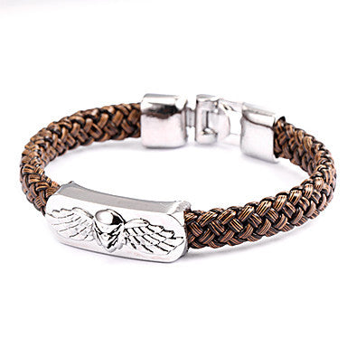 Punk Style Skull Wing Brown Leather Bracelet(1 Pc)