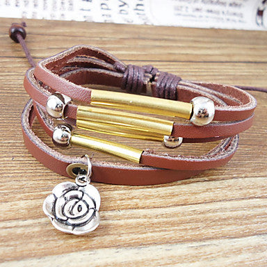 Vintage 17Cm Men's Brown Leather Bracelet(Brown)(1 Pc)