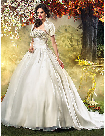 A-line Princess Strapless Sweep/Brush Train Organza Wedding Dress With A Wrap