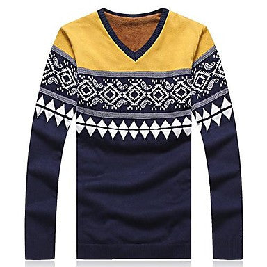 Men's Fashion Long-Sleeved V-neck Sweater