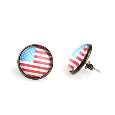 Fashion Round American Flag Antique Bronze Stud Earrings