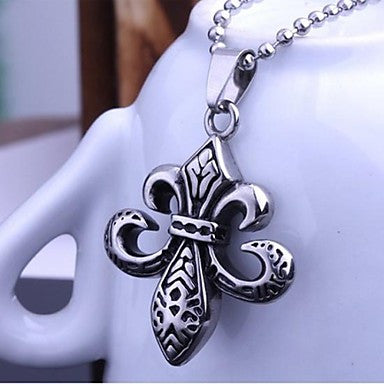 Men¡¯s Fashion Personality Restore Punk Titanium Steel Heart Cross Pendant Necklaces