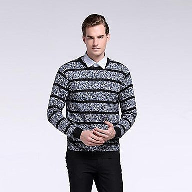 Men's New Fashion Round Collar Long Sleeve Pullover Knitwear Shirt