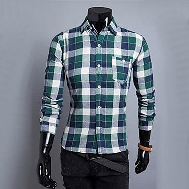 Men's Casual Fashion Stand Collar Slim Plaids Shirt