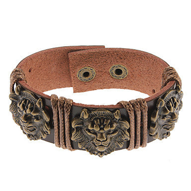 Lion Heart Shape Leather Bracelet