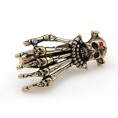 Fashion Alloy Rhinestone Skull Adjustable Double Rings Random Color