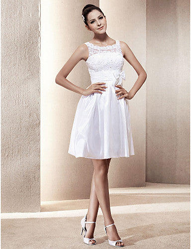 wedding dress a line short mini taffeta and lace scoop little white dress with bow