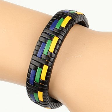 High Fashion Men's Leather Braided Bracelet Blue Green Yellow Color (1 Piece)