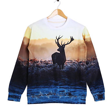 Men's Round Collar Long Sleeve 3D Print Sweatshirt