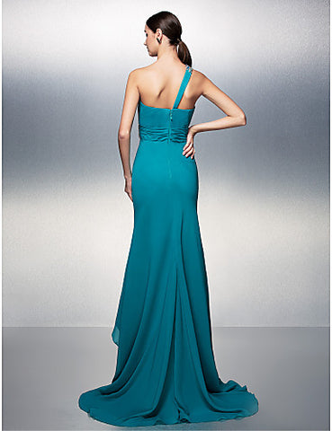 A-line One Shoulder Asymmetrical Chiffon Evening Dress