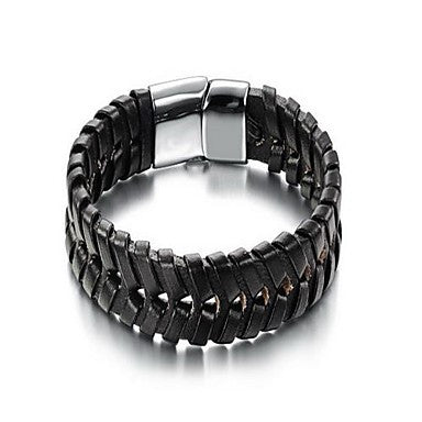 Fashion Men's Temperament Black Alloy Leather Bracelet(1 Pc)