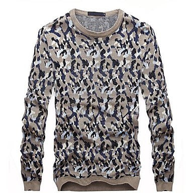 Men's Round Collar Camouflage Pattern Long Sleeve Sweater