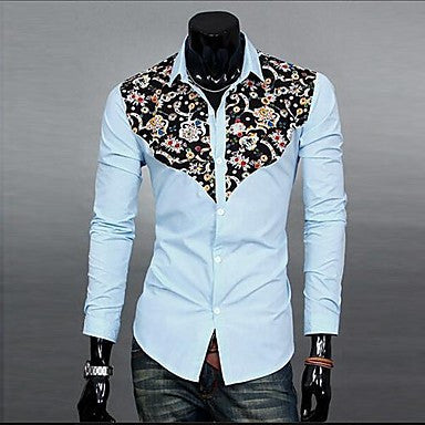 Men's Splicing Contrast Color Long-sleeved Shirt