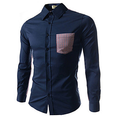 Men's Contrast Color Splicing Pocket Shirt