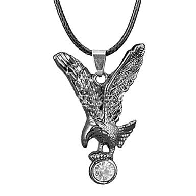 European Diamate (Owl) Black Leather Pendant Necklace(Black,White) (1 Pc)