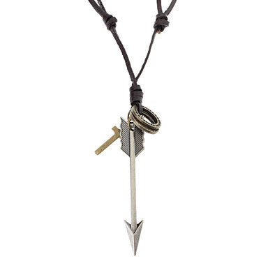 Unisex Arrow Cross Leather Pendant Adjustable Necklace