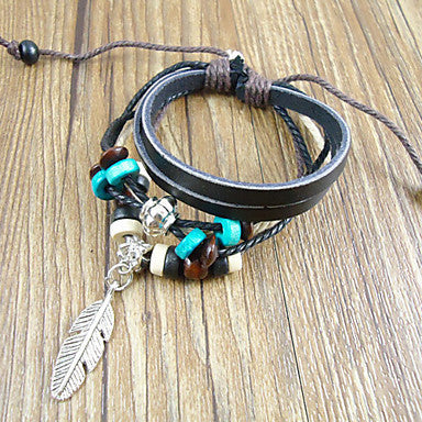 Ethnic 17Cm Men's Black Leather Bracelet(Black)(1 Pc)