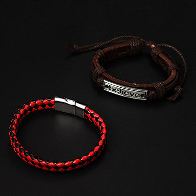 Cheap Red Leather Bracelet+Brown Leather Bracelet(2pcs)