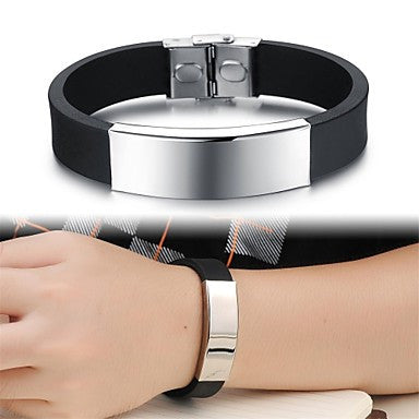 Personality Smooth Titanium Steel Man Silicone Bracelet