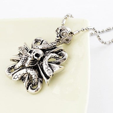 Vintage Snake Body Skull Titanium Steel Pendant Necklace