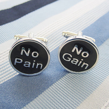 Men's Silver Alloy Round Cufflinks