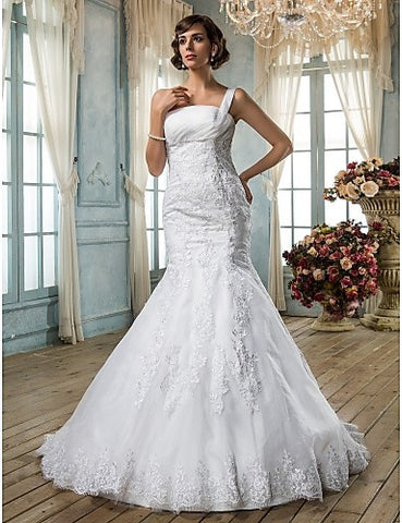 Trumpet/Mermaid One Shoulder Organza Wedding Dress