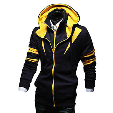 Men's Fashion Leisure Color Matching Hooded Coat
