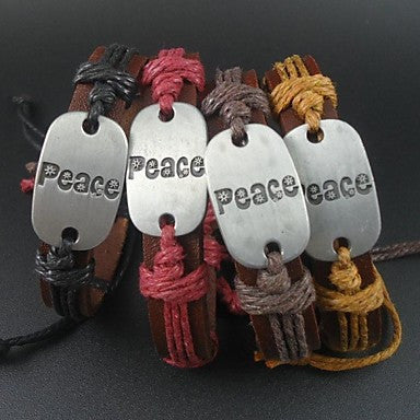 Fashion 4 Colors Peace Charms Hemp Rope Women Men Leather Bracelet