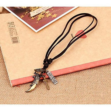 Lureme Vintage Style Leather Wolfling Pendant Alloy Necklace