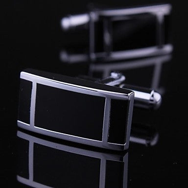 Fashionable Rectangle Black Silver Man Bar Pattern Cufflink for Men (1pair)