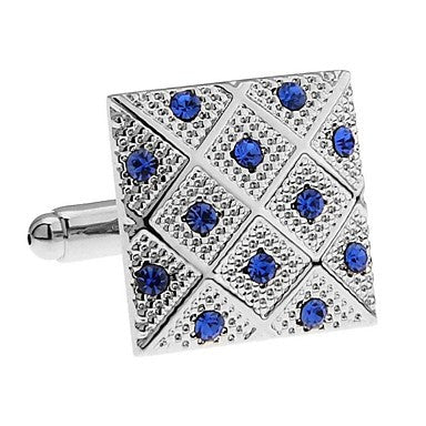 Blue Crystal Rhinestones Each Vintage High Quality Men Cuff Links Excellent Silver Cufflinks