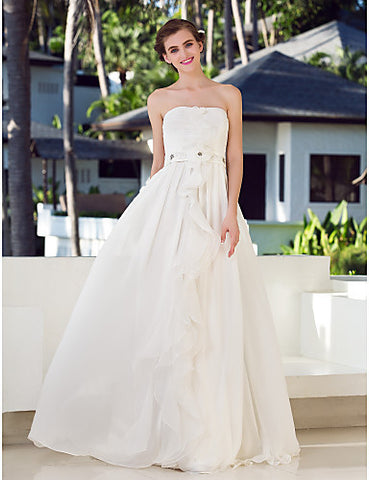 A-line Strapless Charmeuse And Chiffon And Stretch Satin Floor-length Wedding Dresses