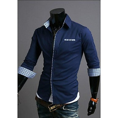 Men's Leisure Grid Color Cuff Grid Long Sleeve Shirt
