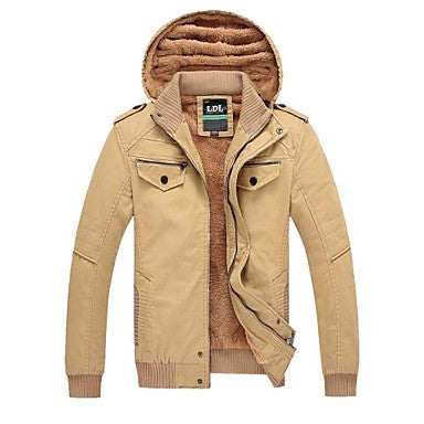 Men's Casual Fashion Style Long Sleeved Removable Cap Washed Jacket