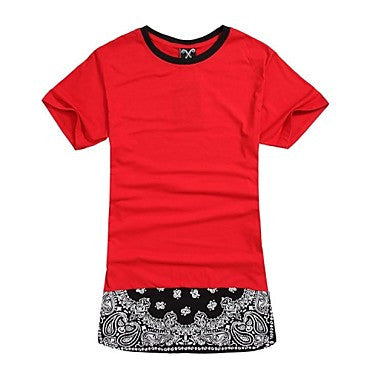 Men's O-Neck Red Long Style Zipper Bandanna Tshirts Mens Street Rap