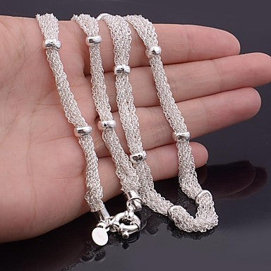 Hight Quality Silver Plated Bamboo Chain Men's Necklace 21 Inch (1 Pc)