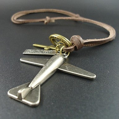 2015 New Arrival Vintage Cross Plane Pendant Men Jewelry Genuine Leather Long Necklace